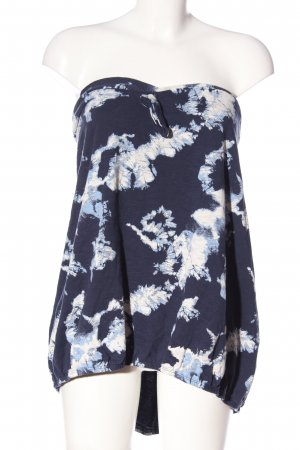 Next Off the shoulder top blauw-wit abstract patroon casual uitstraling