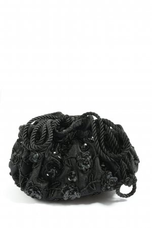 Next Stoffen tas zwart geborduurde letters casual uitstraling