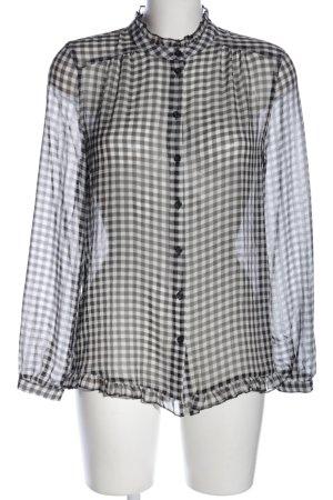 Next Transparenz-Bluse schwarz-weiß Karomuster Casual-Look