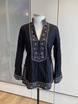 NEXX Bluzka ze stójką czarny-srebrny Bawełna