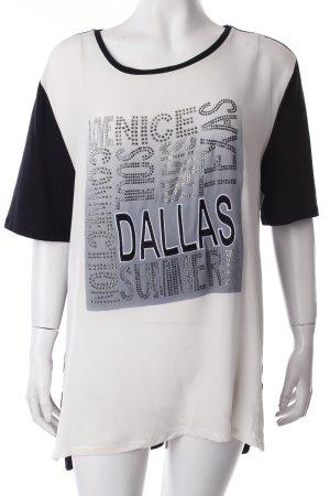 Nice Connection T-Shirt schwarz-creme Schmucksteinverzierung