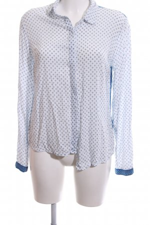 Nice Things Langarm-Bluse weiß-blau abstraktes Muster Casual-Look