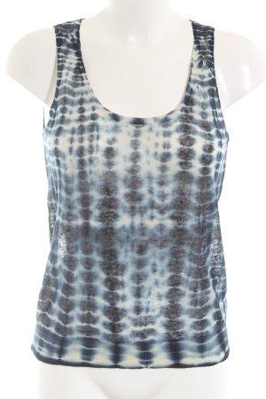 Nice Things Gebreide top blauw-wit gestippeld casual uitstraling