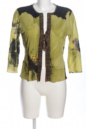 niceconnection Bolero verde-marrone motivo floreale stile casual