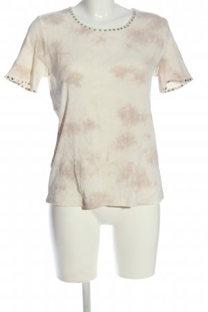 niceconnection Geribd shirt room-roze abstract patroon casual uitstraling