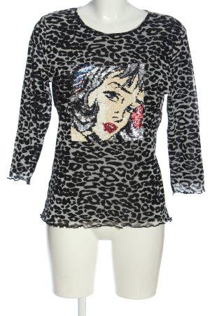 niceconnection Slip-over blouse lichtgrijs-zwart volledige print