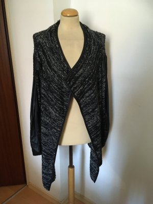 Nicole Knitted Wrap Cardigan black-white