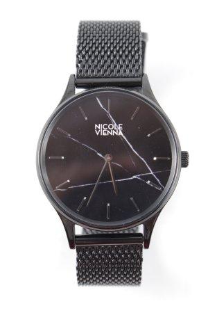 Nicole Vienna Uhr mit Metallband schwarz Urban-Look