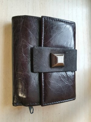 NICOLI Wallet black brown leather