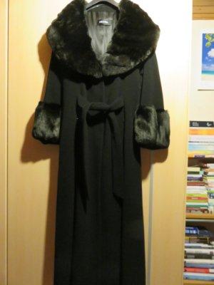 Nicowa Długi płaszcz czarny Kaszmir