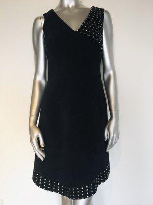 Nicowa Leren jurk zwart Suede