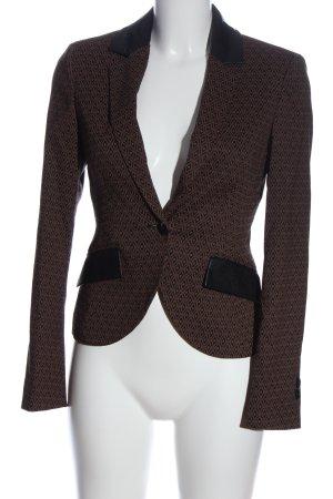 Nicowa Korte blazer zwart-bruin volledige print zakelijke stijl
