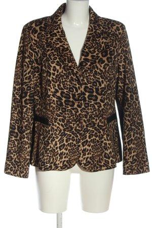 Nicowa Korte blazer bruin-zwart luipaardprint casual uitstraling