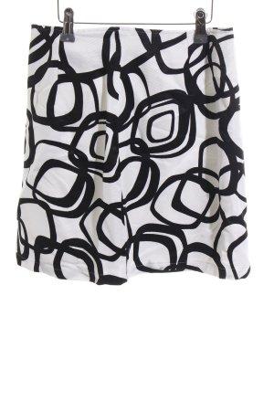 Nicowa Minirock weiß-schwarz abstraktes Muster schlichter Stil