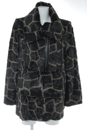 Nicowa Manteau de fourrure noir-ocre motif abstrait style des années 90