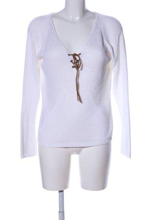 Nicowa Strickpullover weiß-braun Casual-Look