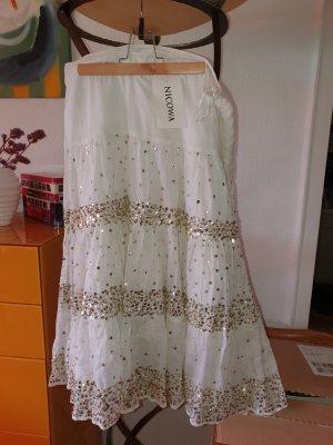 Nicowa Midi Skirt white-gold-colored cotton