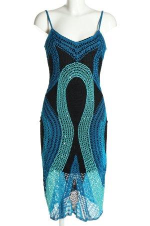 Nicowa Trägerkleid blau-schwarz grafisches Muster Casual-Look