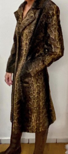 Nicowa Übergangs Mantel mit Animal Fake für Faux fur schwarz braun Gr 38