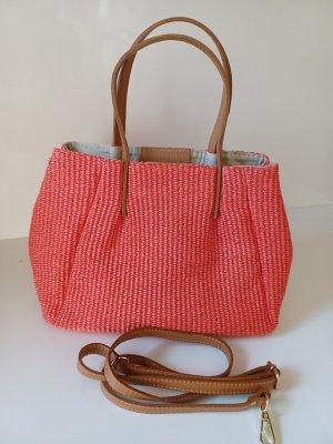Niedliche Bast-Ledertasche Handtasche orange/lachs Vera Pelle neu Italy 2021