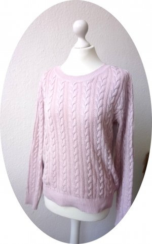 Niedlicher rosa Strickpullover von H&M, Zopfmuster
