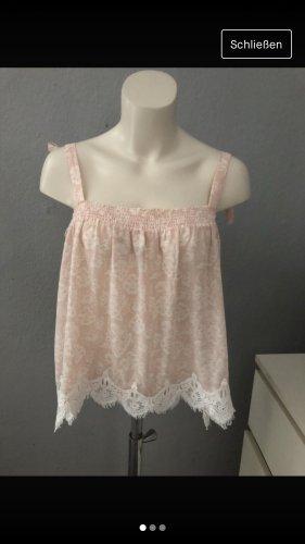 H&M Top di merletto bianco-rosa pallido