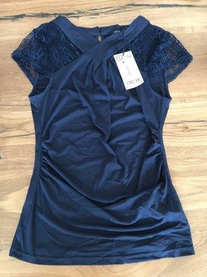 Orsay Top di merletto blu scuro