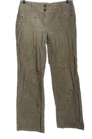 Nienhaus Woman Pantalon kaki kaki motif de fleur style décontracté
