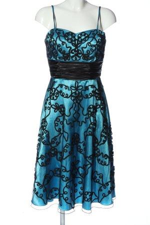 Niente Cocktailkleid blau-schwarz abstraktes Muster Glanz-Optik