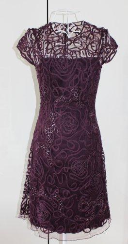 Niente Cocktailkleid mit Ornamentbesatz und Ziersteinen - Lila