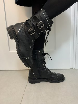 Biker Boots black-silver-colored
