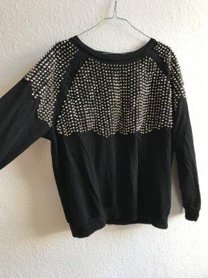 Nietenbesetzter Sweater in schwarz von H&M Trend Größe 40
