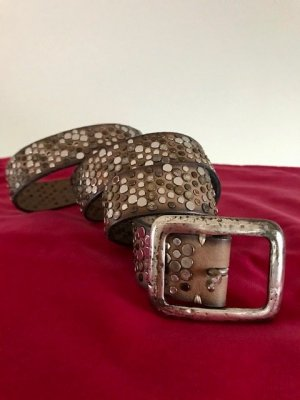 Studded Belt grey brown leather