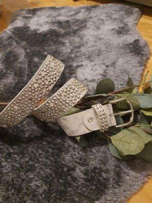 keine Marke Leather Belt silver-colored-light grey