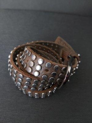 Cowboysbelt Studded Belt grey brown