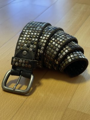Studded Belt dark grey-taupe leather