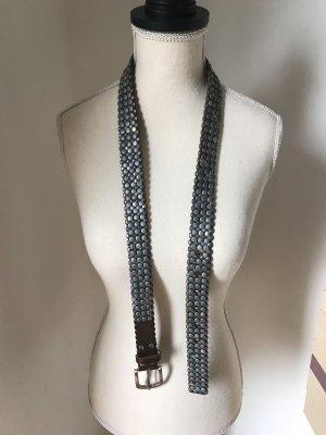 Studded riem bruin-zilver Leer