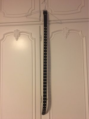 Cintura borchiata nero-argento Pelle
