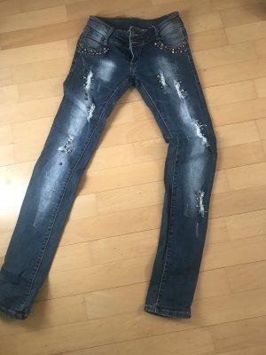 Low Rise jeans blauw-zandig bruin