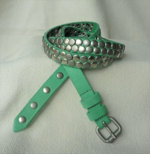 Opus Studded Belt lime-green leather