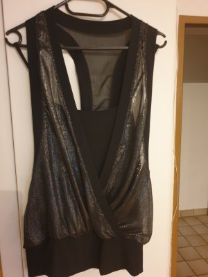 Netshirt zwart-zilver