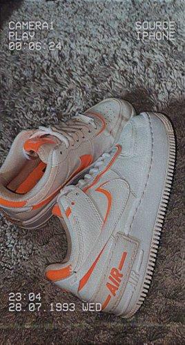 nike air force 1 Basket montante blanc-orange fluo