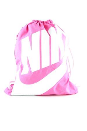 Nike Beuteltasche pink-weiß Schriftzug gedruckt Casual-Look