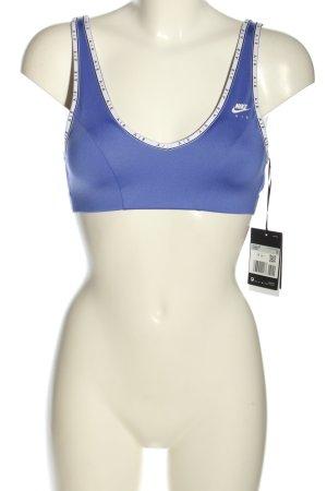 Nike BH lila-weiß Schriftzug gedruckt sportlicher Stil