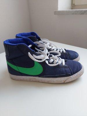 Nike Wysokie trampki ciemnoniebieski-zielony neonowy