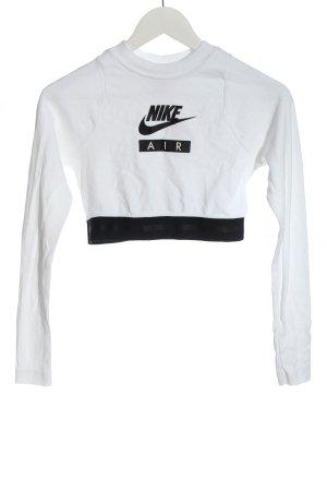 Nike Cropped Shirt weiß-schwarz Motivdruck Casual-Look