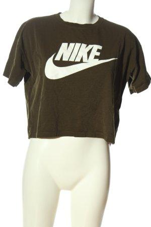 Nike Cropped Shirt bronzefarben-weiß Schriftzug gedruckt Casual-Look