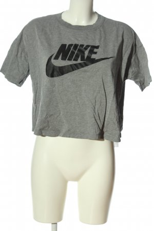 Nike Cropped Shirt hellgrau-schwarz Motivdruck Casual-Look