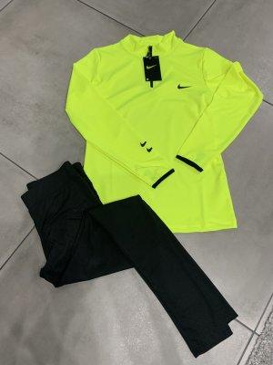 Nike Damen Trainingsanzug Jogginganzug leggings schwarz neongelb gr M