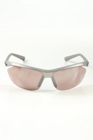 Nike eckige Sonnenbrille silberfarben sportlicher Stil